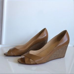 EUC Louboutin Leather and Gold Weave Wedges 41